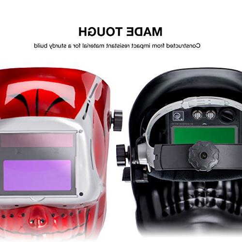 Neiko 53932A Auto-Darkening Helmet MMA, and Battery Powered Red