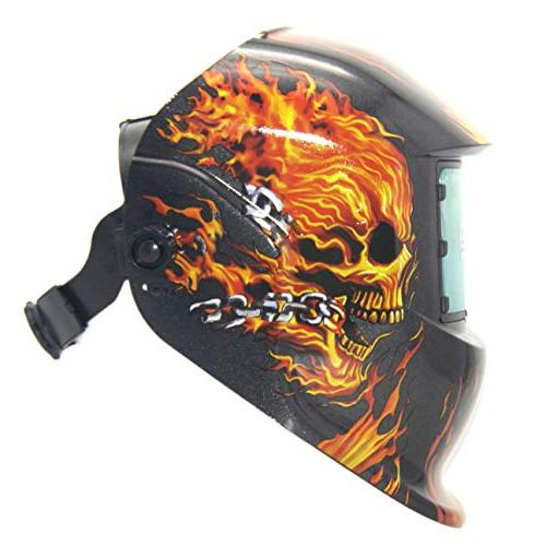 ATF Auto Darkening Welding Helmet Solar Hood Flame for MMA, ARC Welding Optical 1/1/1/1,View with Spare Cover Lens