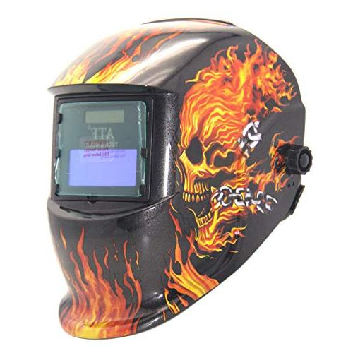 """ATF Auto Helmet Hood Devil Flame for MMA, MIG MAG, ARC Welding Optical 1/1/1/1,View Area. 3.54""""x1.39""""Viewing with Lens"""