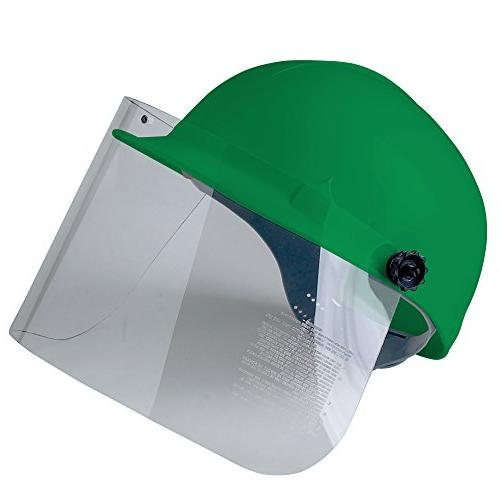 Jackson Safety Cap with Shield Attachment, Safety Hard for Bumps, Brow Pad, 4-Pt. Suspension, Green,