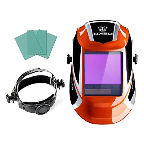 DEKOPRO Darkening Solar Powered wide viewing field Professional with Lens Adjustable Shade Range 4/9-13 for Mig Arc Grinding Mask