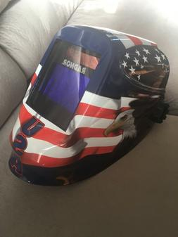 "RADNOR RDX60 Red White Blue Auto Dark Welding Hood 5""x4"""