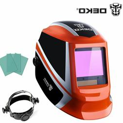 Solar Auto Darkening Orange Welding Helmet Arc Tig Mig Mask
