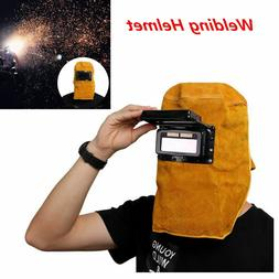 Solar Powered Auto Darkening Filter Lens Welder Leather Hood
