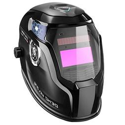 DEKOPRO Solar Powered Welding Helmet Auto Darkening Hood wit
